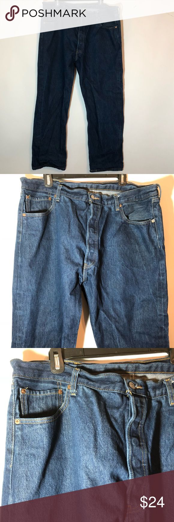 Levi's 501 Button Fly Jeans Men's 42X32 Denim Blue Men's Levi's 501 Jeans Button Fly Jeans are in excellent (newish) condition No signs of wear No stains tears or holes Size 42X32 Smoke free pet free home Levi's Jeans Straight