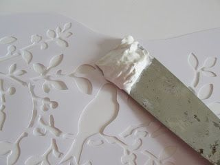 Craftberry Bush: Embossed Venetian Plaster... using a stencil and joint compound, who knew????!!!
