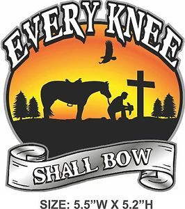 Cowboy Praying at Cross Sticker Decal Every Knee Shall Bow ...