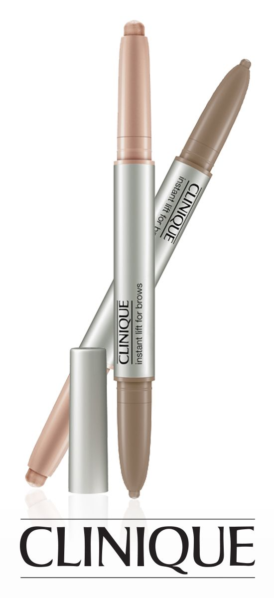 Create a dramatic eye look: Highlight and define brows with a two-in-one automatic brow pencil and pearlized highlighter duo. Clinique Instant Lift For Brows.