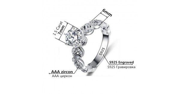 1.5 quilates Zirconia anillo de compromiso para mujeres oro blanco plateado Bague Bijoux anillo CC097
