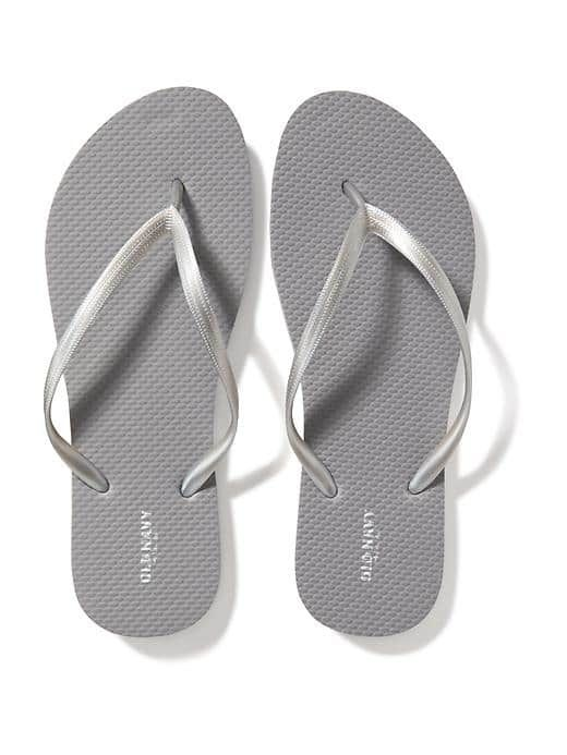 Old Navy - Classic Flip-Flops for Women in Silver $2.50