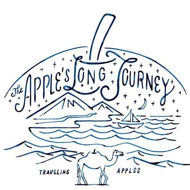 """HARD CIDREのキャンペーンサイト """"CIDRE WALL""""のイラスト その1 The Apple's Long Journey 旅を表すモチーフはたくさんあるけど、長い距離と長い年月を表せるモチーフはもしかしたらラクダくらいしかいない? というか思いつきませんでした。 #chalkboy #handwritten #graphic #オトナのリンゴ"""
