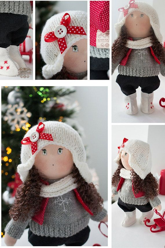 Snow tilda doll Winter doll Art doll handmade by AnnKirillartPlace