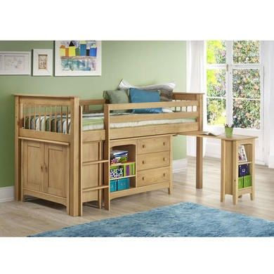 Oxford Pine Mid Sleeper Bed - Ladder fixes to either side!