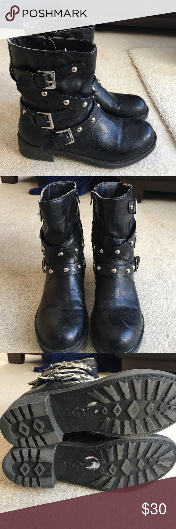 Black Moto Boots G by Guess black moto boots with buckles and studs. Boots have a side zipper for easy on and off. Worn only a few times, the heels have a little wear to them. No box. G by Guess Shoes Combat & Moto Boots