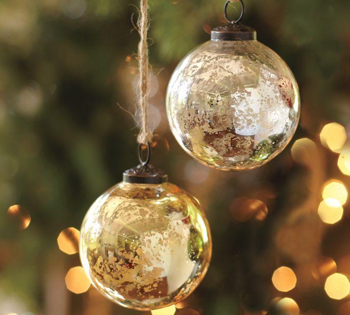 Mercury Glass Ball Ornaments - Silver & Gold, Set of 6