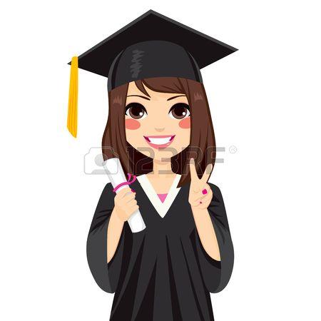 Muchacha morena hermosa en d a de graduaci n celebraci n diploma y haciendo el gesto de la victoria  Foto de archivo