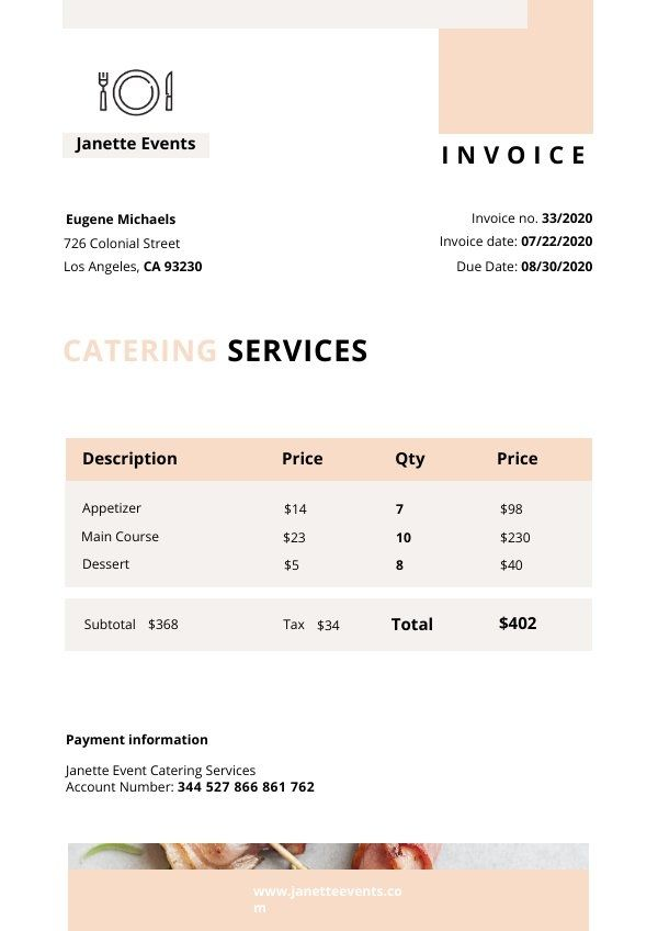 Catering Services Invoice Template Invoice Template Catering Services Templates