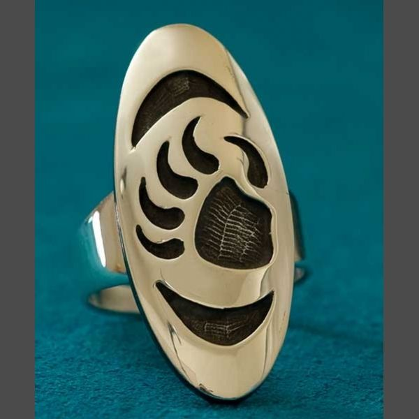 """Native American Bear Claw Ring Berna and Anderson Koinva    $ 205.00  Silver Hopi Overlay  The face of the ring is 1 1/2"""" long x 5/8"""" wide  Heavy Gauge Silver  Size 9"""