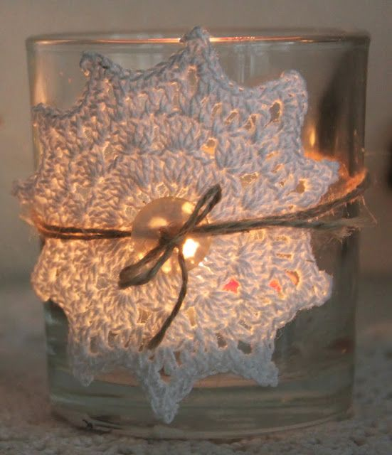 Cosy Christmas Star Tealight. Free pattern (Use Google translator)