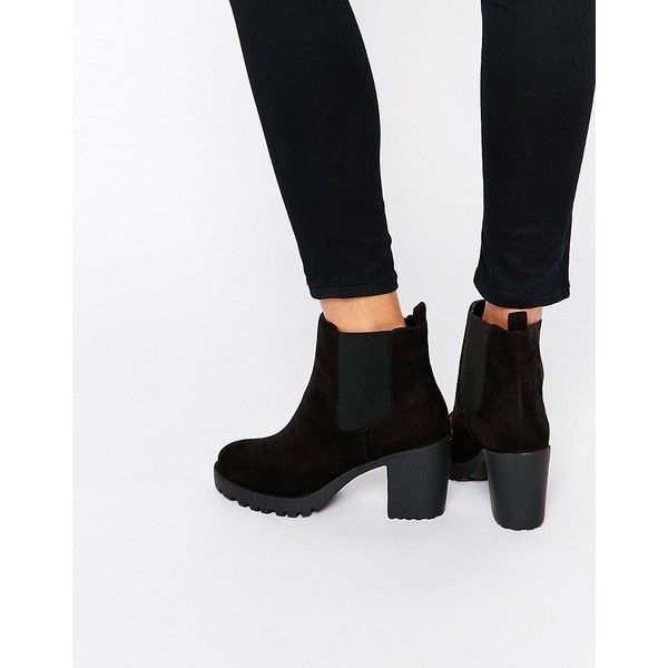 London Rebel Chunky Heeled Chelsea Boots ($52) ❤ liked on Polyvore featuring shoes, boots, ankle booties, black, black high heel booties, beatle boots, chelsea boots, thick heel booties and black high heel boots
