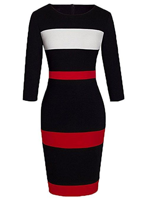 WOOSEA Women's Sleeveless Voguish Colorblock Stripe Cocktail Party Pencil Dress at Amazon Women's Clothing store: