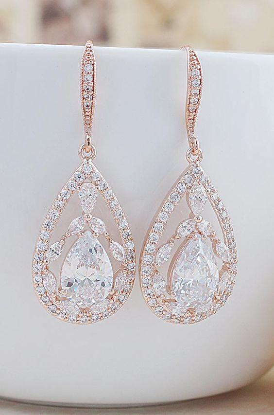 Luxury Rose Gold Cubic Zirconia Drop Bridal Earrings