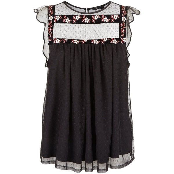 Black Polkadot Floral Embroidered Smock Top (860 UYU) ❤ liked on Polyvore featuring tops, smock top, dot top, polka dot top and smocked top