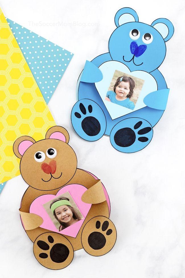 Teddy Bear Card W Kid S Photo 3d Craft For Father S Day Teddy Bear Crafts Bear Crafts Valentines Day Teddy Bear