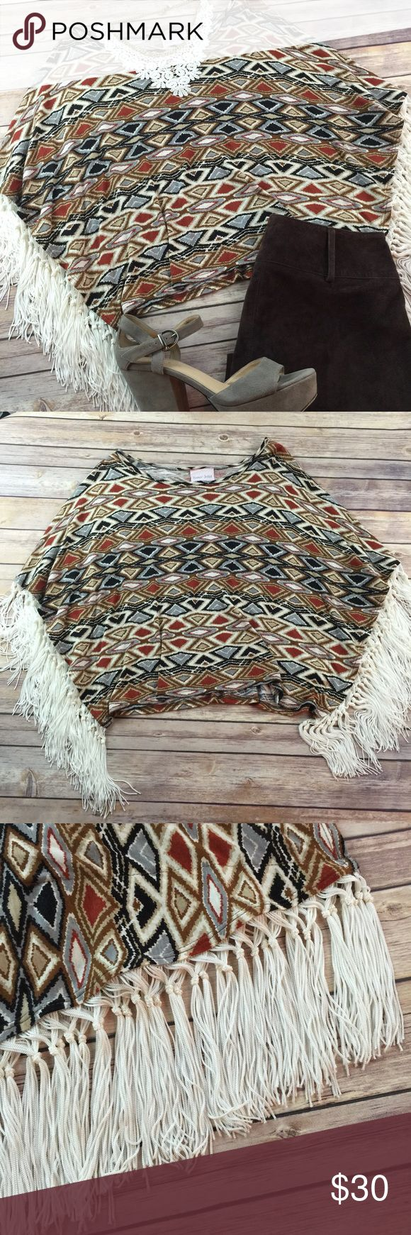 Romeo & Juliet Tribal Indian Batwing Fringe Shirt  gorgeous!!! Amazing! Awesome! Like new. Very stylish! Romeo & Juliet Couture Tops Blouses