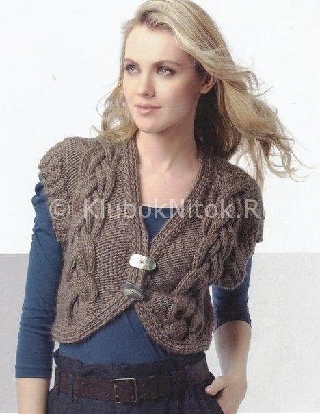 Жилет с узором «Косы»   Вязание для женщин   Вязание спицами и крючком. Схемы вязания.