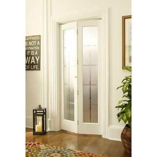Elegant American Wood Mission Frosted Bi fold Door