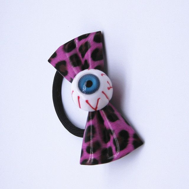 Creepy Blue Eyeball Leopard Hair Bow Japanese Harajuku Hair Accessories