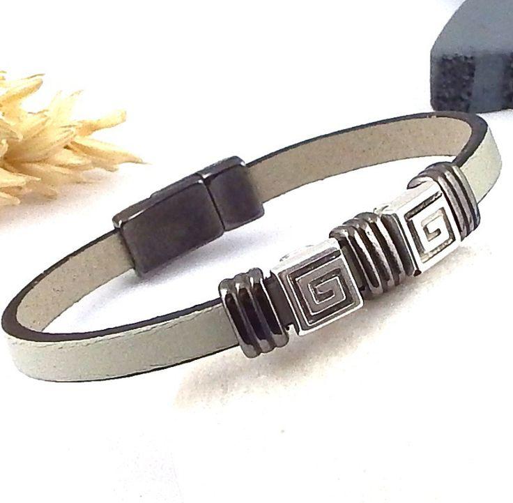 kit tutoriel bracelet cuir homme mastic et gun metal fermoir gun : Kits, tutoriels bijoux par bijoux-giuliana