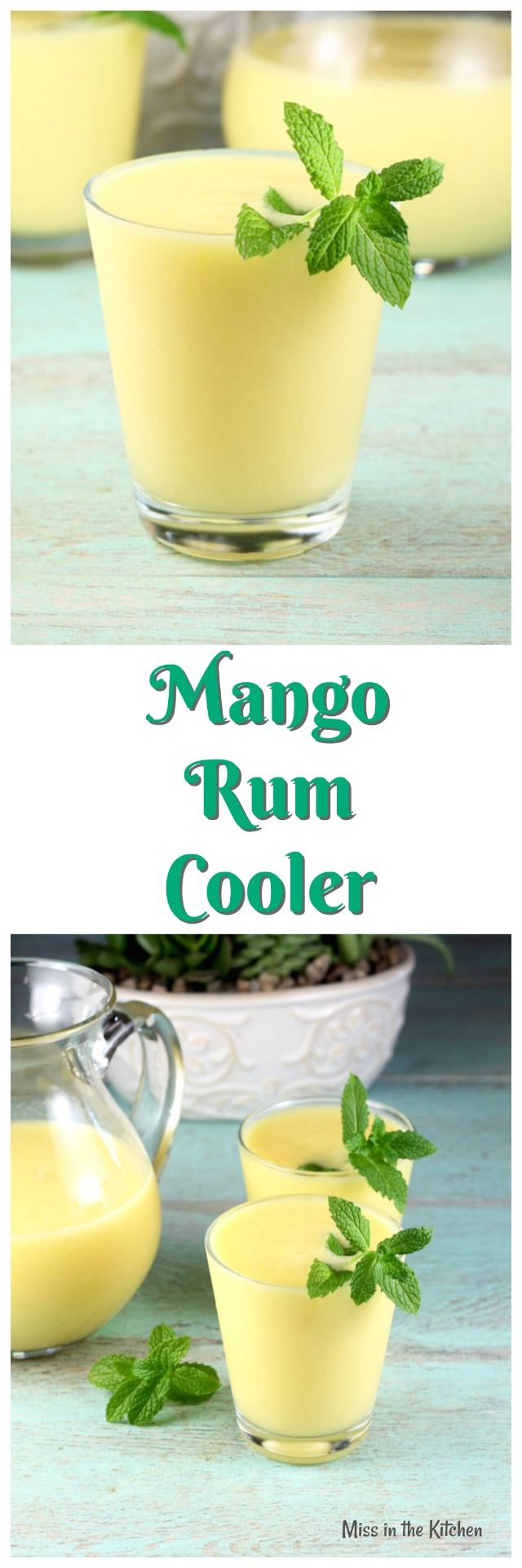 Mango Rum Cooler Cocktail Recipe from MissintheKitchen.com Perfect summer party drink!