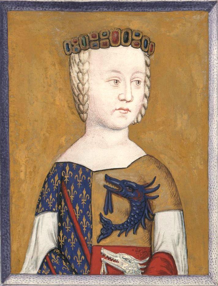 Anne, dauphine d'Auvergne (Gaignières 457) -- Dessin d'une miniature, Fonds Gaignières [BNF Est. Réserve Oa-13-Fol., Fol. 29. Bouchot, 457] -- «Anne d'aufine d'Auvergne femme de Louis II duc de Bourbon.» [elle porte une robe partie Bourbon/Auvergne]