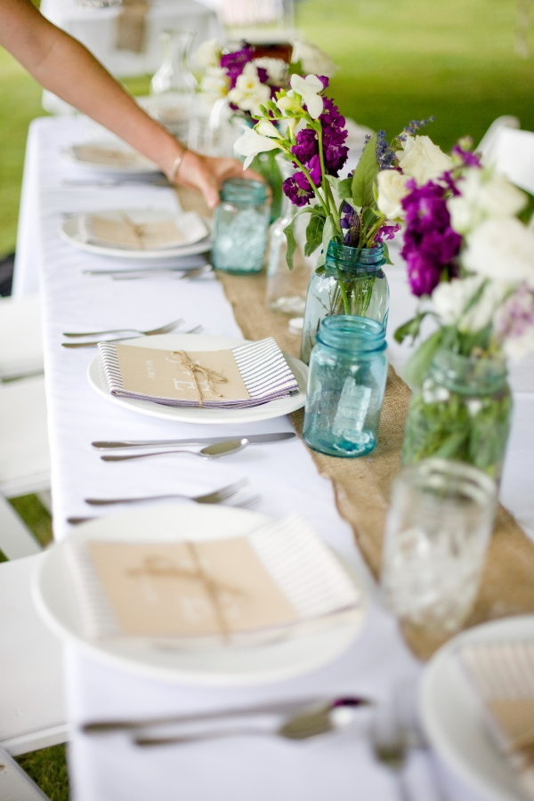 White tablecloth & burlap runner  Photography By / TanaPhotography.com
