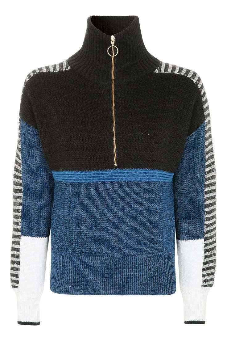 Colour Block Funnel Jumper - New In This Week - New In - Topshop Europe