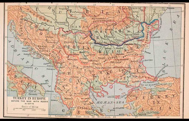 1888 Lithograph Map Turkey Europe Italy Bulgaria Romania Austria Bosnia XGSA5 - Period Paper