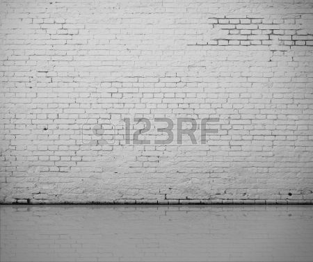 high resolution white brick wall and floor Stock Photo