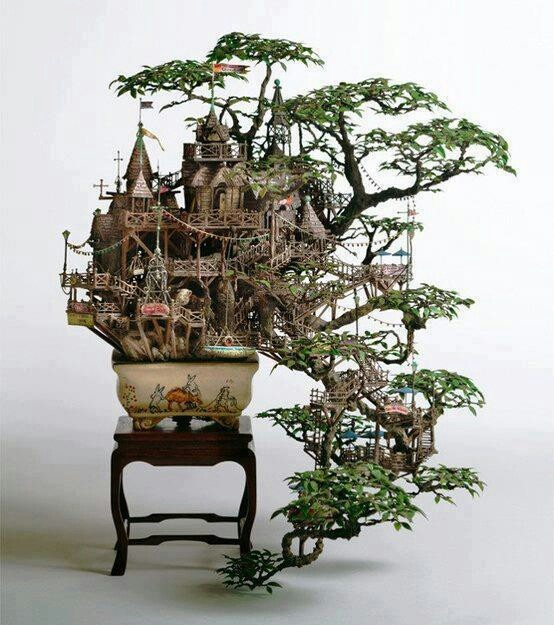 Incredible bonzai tree castle by Takanori Aiba.