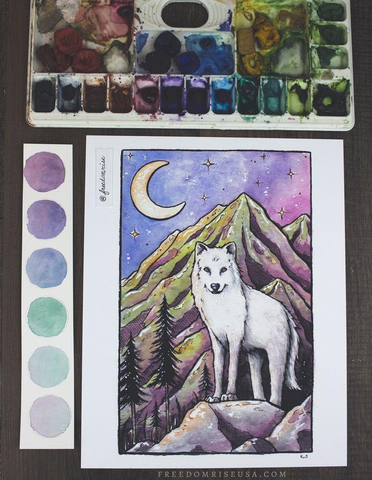 White Wolf Art Print | Art by Becca Stevens | @freedomrise | Freedomriseusa.com