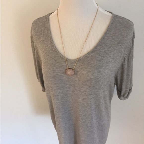 Gray Oversized Slouchy Top Asos Petite but its pretty big. US Size 12. Bust is 22 pit to pit flat. 26 shoulder to hem. 95% viscose. ASOS Tops Tees - Short Sleeve