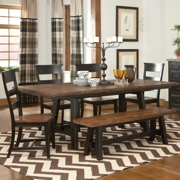 Dining Table With Chairs And Bench: Furniture, Old Solid Wood Trestle Dining Table With Ladder