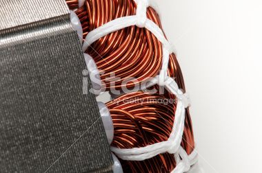 Electric motor stator winding and stack close-up Royalty Free Stock Photo