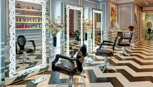 Beautiful Salon Stations a with chevron black & white floors & full length mirrors to see everything that's going on in the salon. POD 3- consultation. POD 4- stress relieving ritual. POD 6- service ritual.