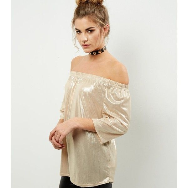 New Look Blue Vanilla White Metallic Bardot Neck Top ($25) ❤ liked on Polyvore featuring tops, winter white, going out tops, white going out top, holiday party tops, white top and metallic top
