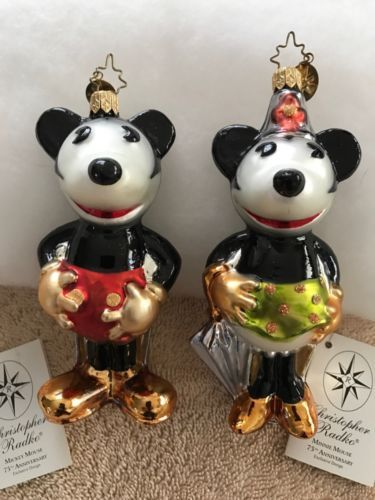 Christopher-Radko-Disney-Mickey-and-Minnie-Mouse-75-YEARS-TOGETHER-Ornaments