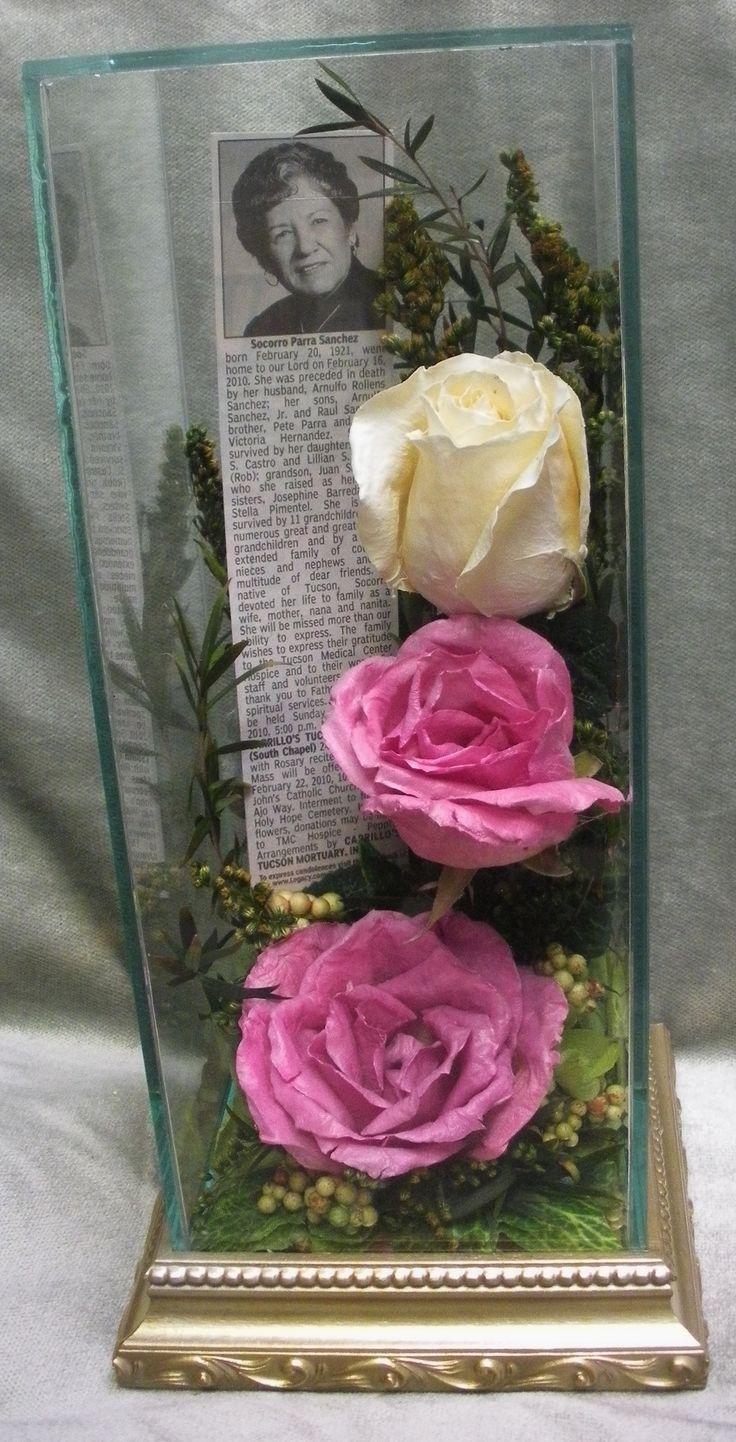 Preserved Funeral Tribute Memorial flowers in glass case http://www.facebook.com/FloralKeepsakesBoutique