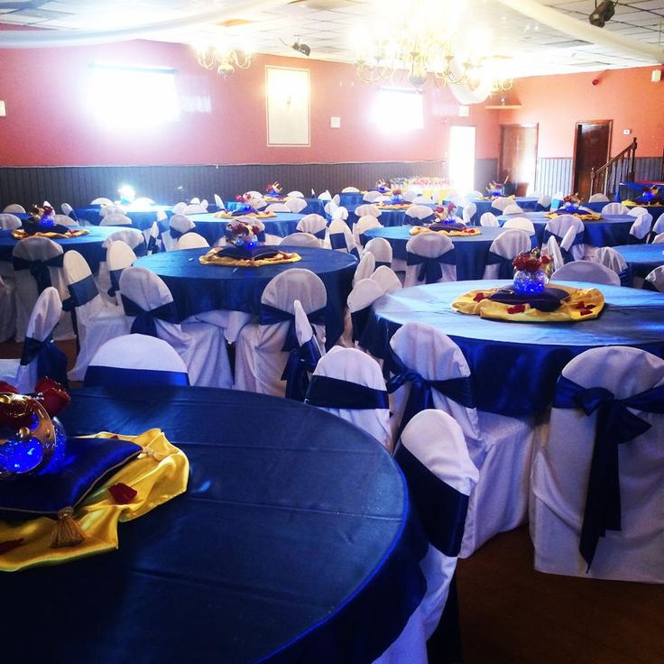 Gold And Blue Tables For A Baby Shower