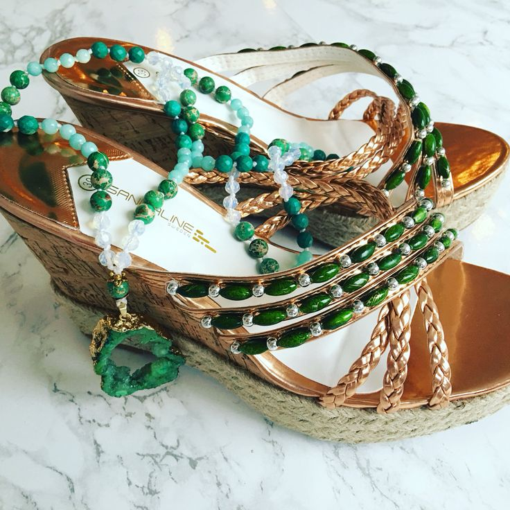 Rose gold beaded wedges