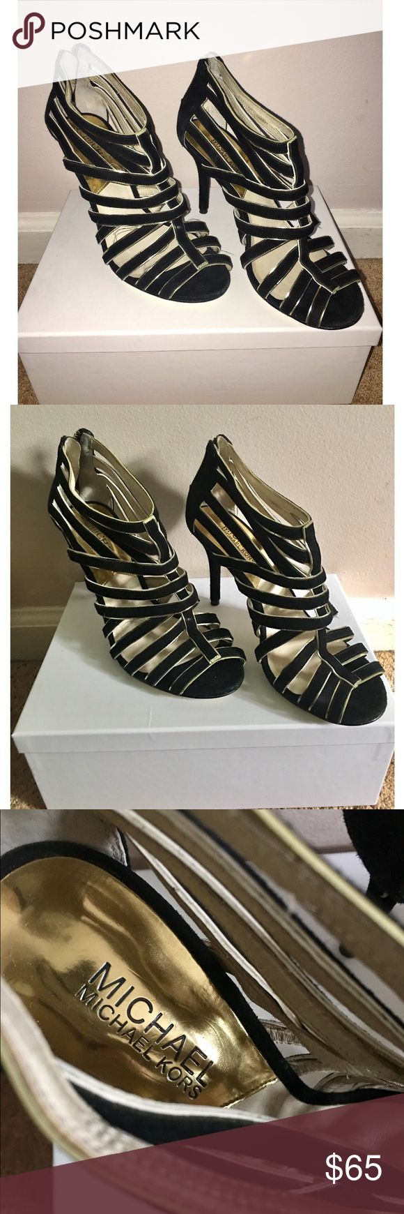 Michael Kors HIGH HEELS  Black and gold strappy high heels. 4in heel. Zipper close. Great condition, minor scuffs on bottom. Michael Kors Shoes Heels