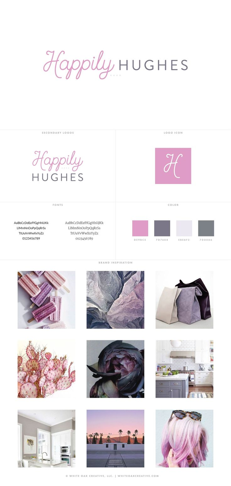 Happily Hughes Blog Design by White Oak Creative, branding and blog design, logo design, wordpress theme, mood board inspiration, blog design idea, graphic design, branding