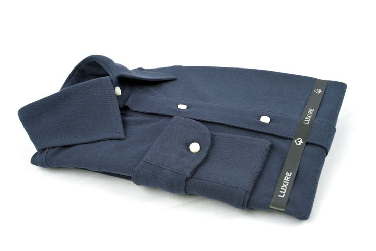 Luxire navy knitted pique long sleeve Polo shirt with custom 2-piece collar http://custom.luxire.com/products/navy_pique