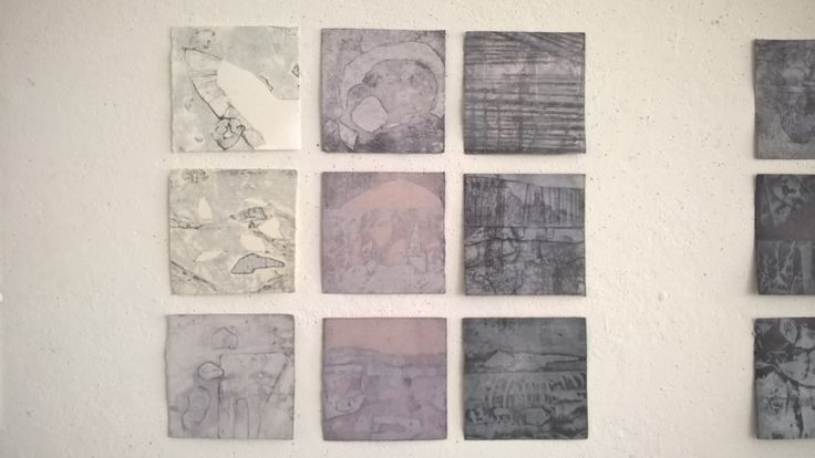 Collagraphs prints some soaked in drawing ink. Dallas Perry