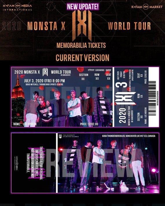 Monsta X 2021 World Tour Memorabilia Concert Tickets Etsy In 2020 Monsta X Concert Tickets Concert