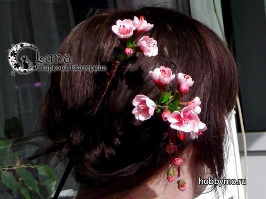 Палочки для волос с цветами вишни из полимерной глины