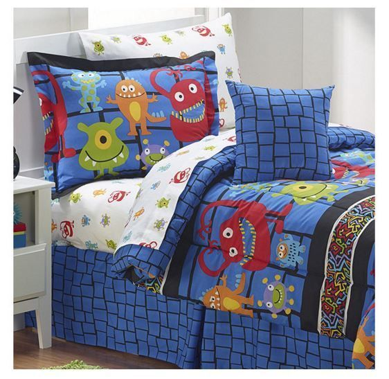 "Boy's ""Silly Monsters"" Room Bedding Ensemble in Blue - Full #SleepwellInc"