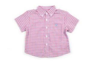 Camisa mangas cortas para bebe niño, con diseño tipo Vichy, con cuadritos azules y rojos.